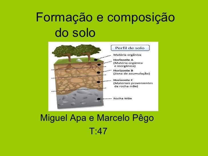 Formação e composição   do soloMiguel Apa e Marcelo Pêgo           T:47