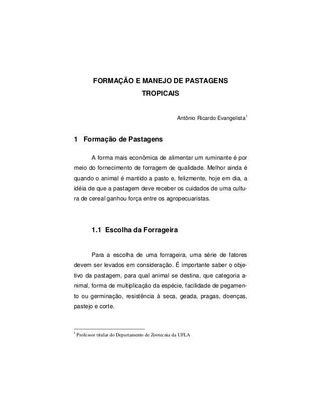 FORMAÇÃO E MANEJO DE PASTAGENS TROPICAIS Antônio Ricardo Evangelista 1 1 Formação de Pastagens A forma mais econômica de a...