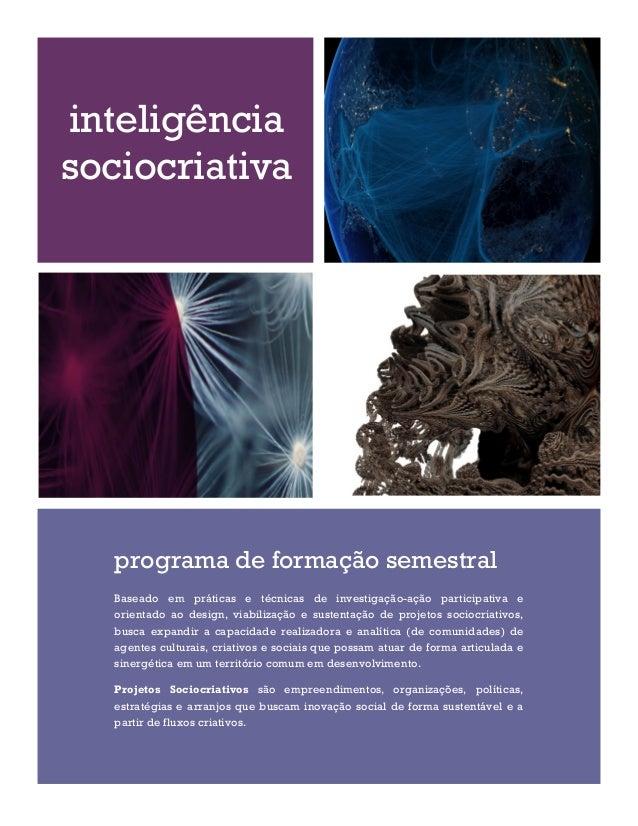 inteligência sociocriativa  programa de formação semestral Baseado em práticas e técnicas de investigação-ação participati...