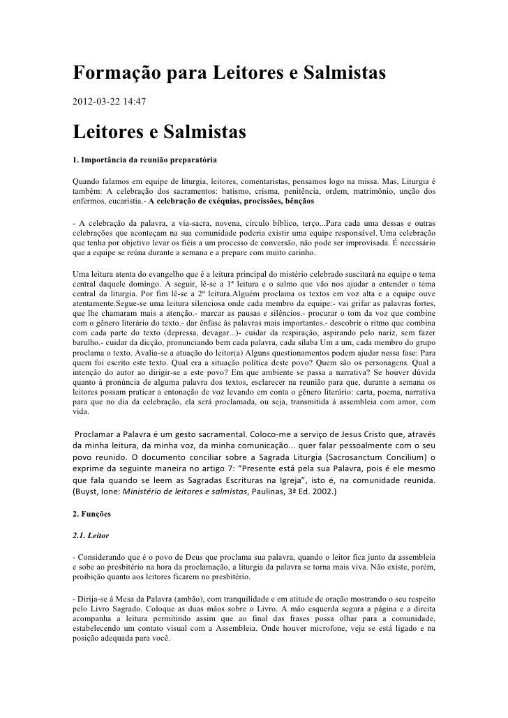 Formação para Leitores e Salmistas2012-03-22 14:47Leitores e Salmistas1. Importância da reunião preparatóriaQuando falamos...