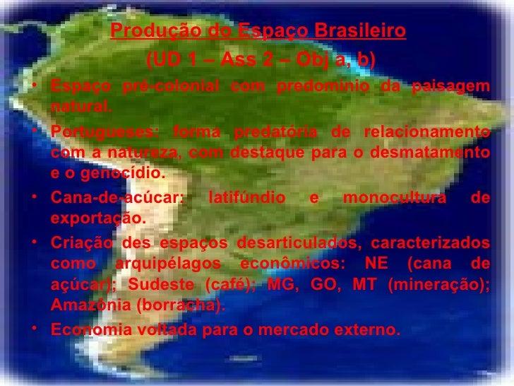 <ul><li>Produção do Espaço Brasileiro   </li></ul><ul><li>(UD 1 – Ass 2 – Obj a, b) </li></ul><ul><li>Espaço pré-colonial ...