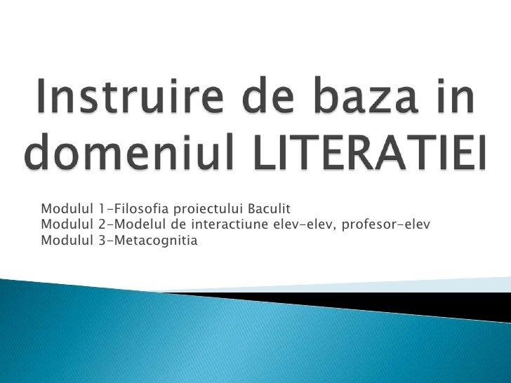Modulul 1-Filosofia proiectului BaculitModulul 2-Modelul de interactiune elev-elev, profesor-elevModulul 3-Metacognitia