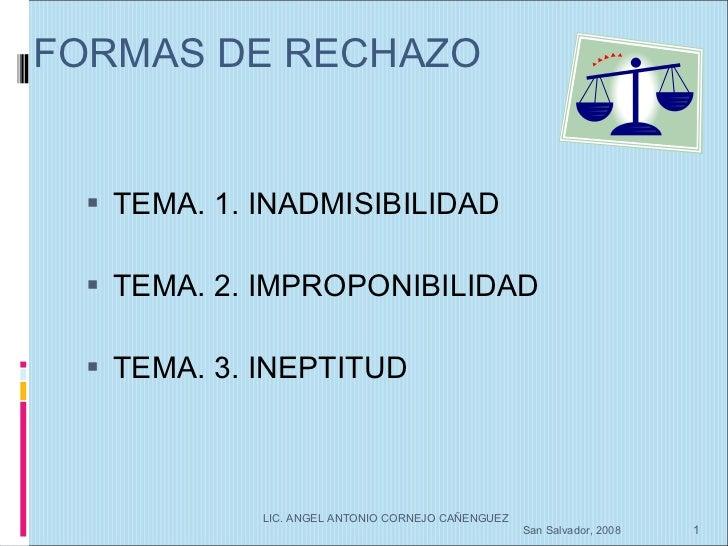 FORMAS DE RECHAZO <ul><li>TEMA. 1. INADMISIBILIDAD </li></ul><ul><li>TEMA. 2. IMPROPONIBILIDAD </li></ul><ul><li>TEMA. 3. ...