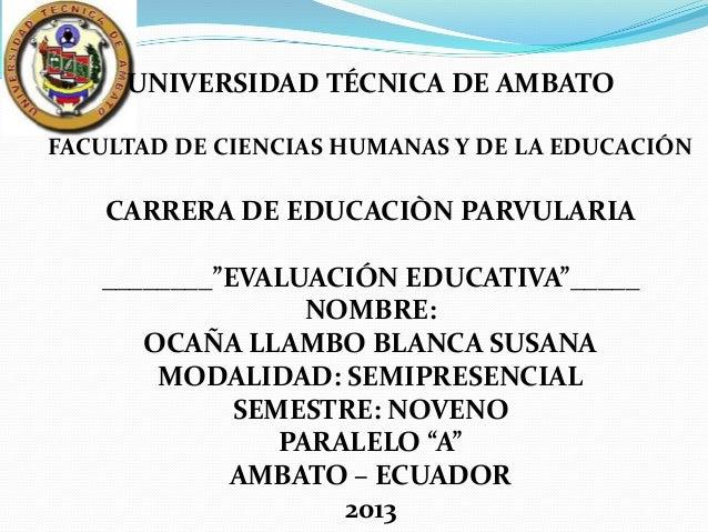 """UNIVERSIDAD TÉCNICA DE AMBATOFACULTAD DE CIENCIAS HUMANAS Y DE LA EDUCACIÓN    CARRERA DE EDUCACIÒN PARVULARIA   ________""""..."""