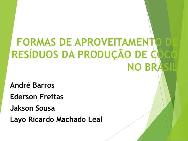 FORMAS DE APROVEITAMENTO DE RESÍDUOS DA PRODUÇÃO DE CÔCO NO BRASIL André Barros Ederson Freitas Jakson Sousa Layo Ricardo ...