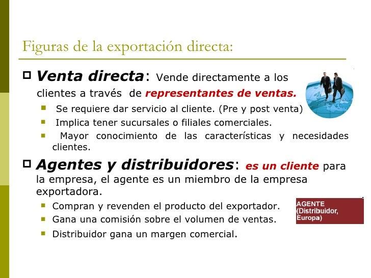 Figuras de la exportación directa: <ul><li>Venta directa :  Vende directamente a los  </li></ul><ul><li>clientes a través ...