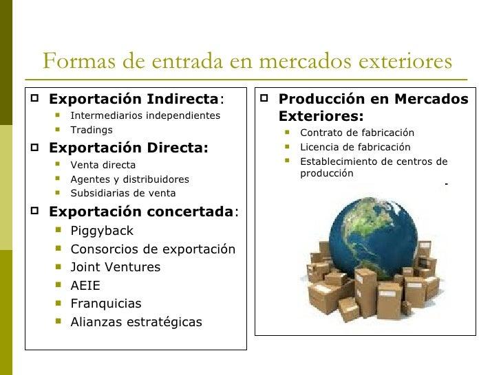 Formas de entrada en mercados exteriores <ul><li>Exportación Indirecta : </li></ul><ul><ul><li>Intermediarios independient...