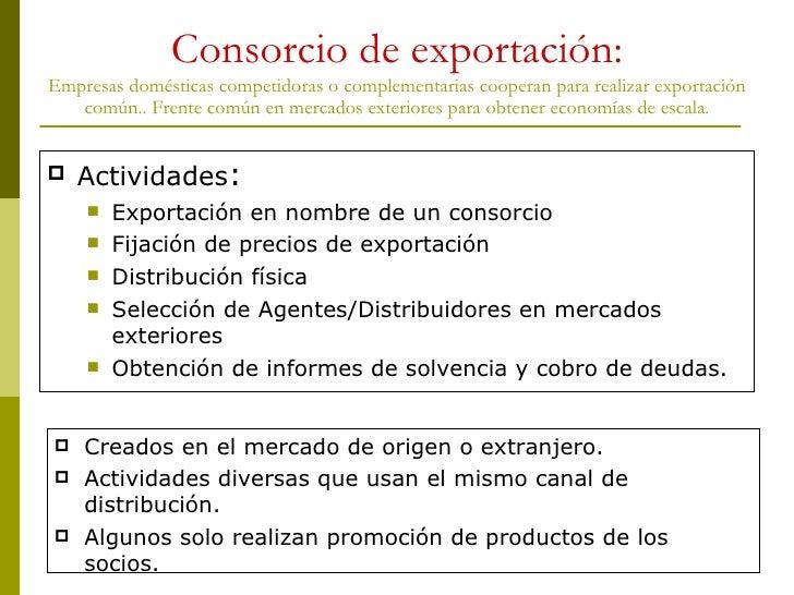 Consorcio de exportación: Empresas domésticas competidoras o complementarias cooperan para realizar exportación común.. Fr...