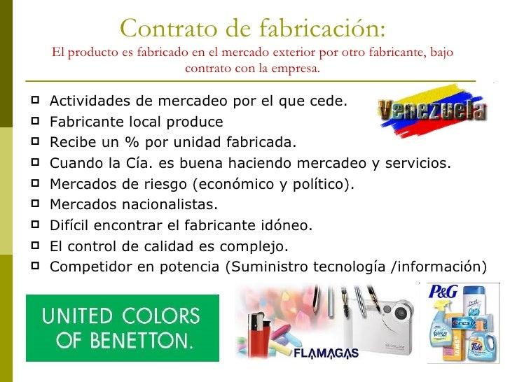 Contrato de fabricación: El producto es fabricado en el mercado exterior por otro fabricante, bajo contrato con la empresa...