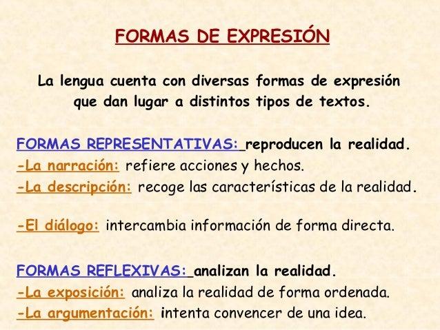 FORMAS DE EXPRESIÓN   La lengua cuenta con diversas formas de expresión        que dan lugar a distintos tipos de textos.F...