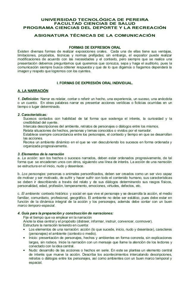 UNIVERSIDAD TECNOLÓGICA DE PEREIRA FACULTAD CIENCIAS DE SALUD PROGRAMA CIENCIAS DEL DEPORTE Y LA RECREACIÓN ASIGNATURA TÉC...
