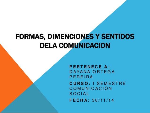 FORMAS, DIMENCIONES Y SENTIDOS  DELA COMUNICACION  P E R T E N E C E A :  D AYA N A O R T EG A  P E R E I R A  C U R SO : ...
