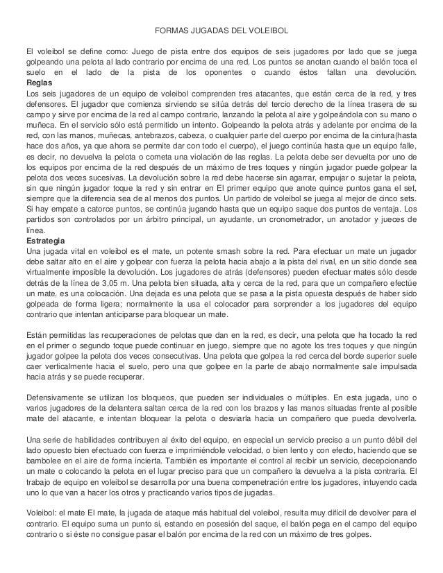 FORMAS JUGADAS DEL VOLEIBOL El voleibol se define como: Juego de pista entre dos equipos de seis jugadores por lado que se...