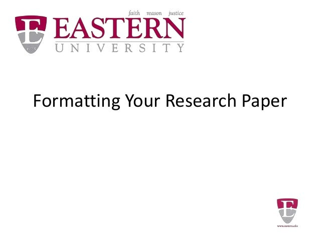 Formatting Your Research Paper