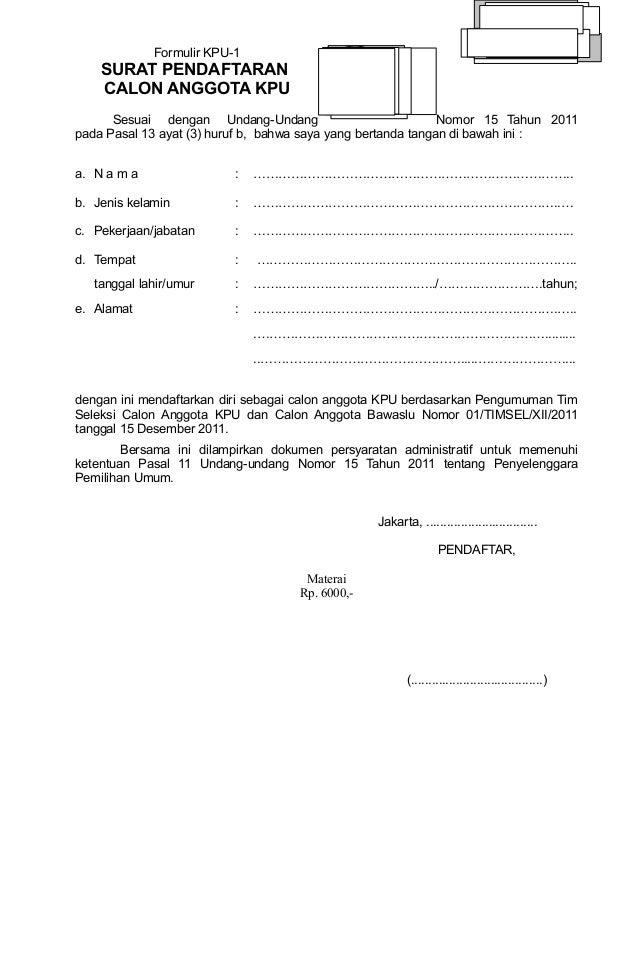 Format Format Pendaftaran Calon Anggota Kpu 14 Des Final