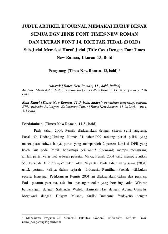 Format Artikel Karya Ilmiah Ut