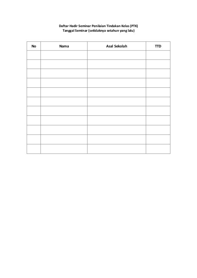 Format Daftar Hadir