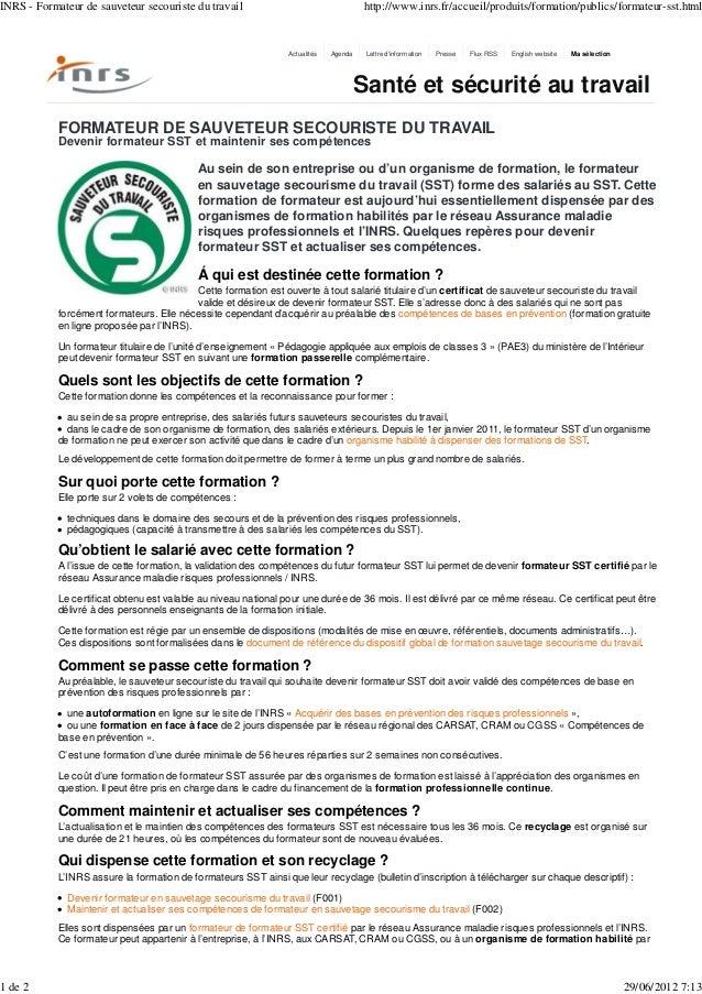 INRS - Formateur de sauveteur secouriste du travail                                    http://www.inrs.fr/accueil/produits...