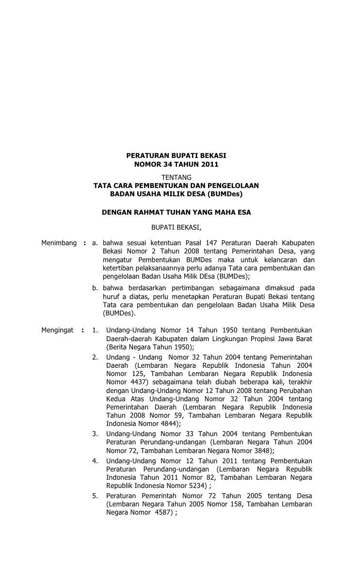 Format F4 Berita Daerah Kabupaten Bekasi Tentang Bumdes