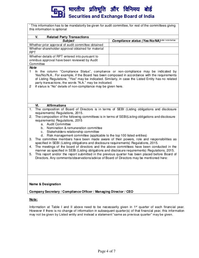 Format for compliance report on corporate governance