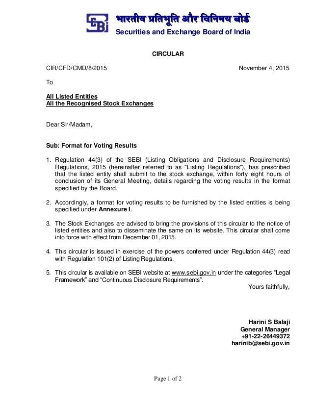 भारतीय प्रततभूतत और तितिमय बोर्ड Securities and Exchange Board of India Page 1 of 2 CIRCULAR CIR/CFD/CMD/8/2015 November 4...