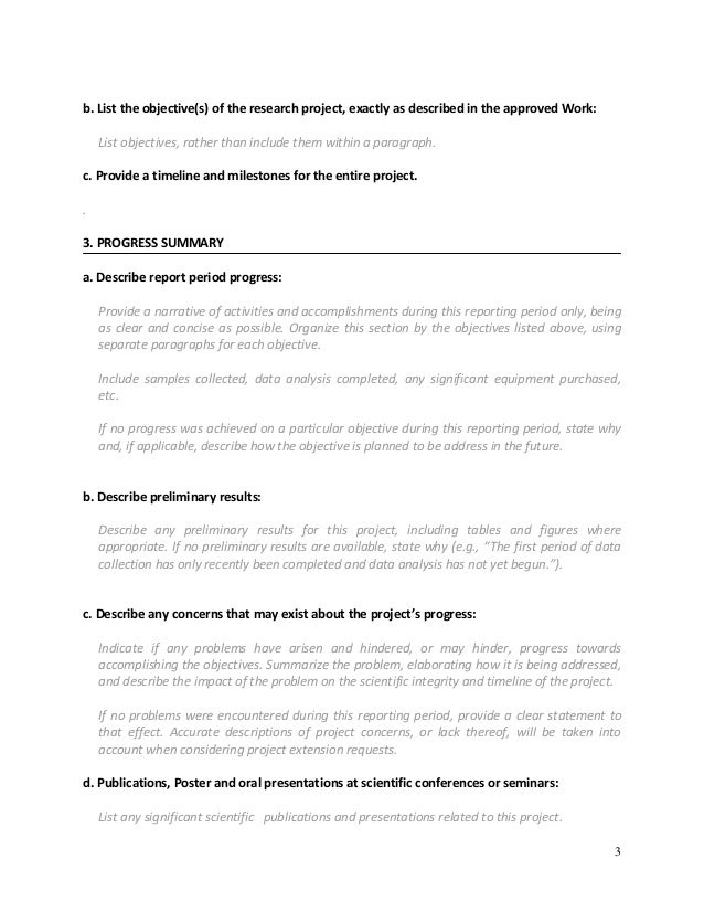 business progress report sample