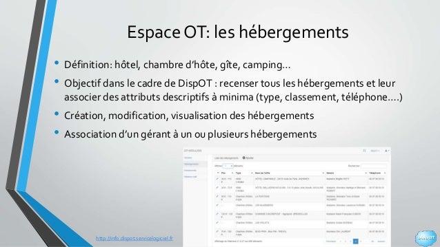 http://info.dispot.servicelogiciel.fr Espace OT: les hébergements • Définition: hôtel, chambre d'hôte, gîte, camping… • Ob...