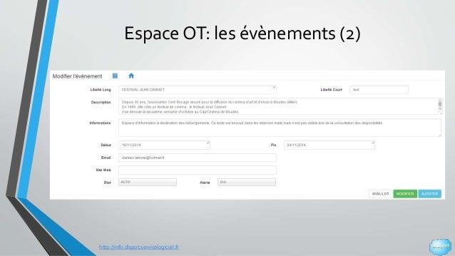 http://info.dispot.servicelogiciel.fr Espace OT: les évènements (2)