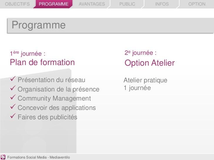 OBJECTIFS          PROGRAMME             AVANTAGES   PUBLIC       INFOS   OPTION  Programme 1ère journée :                ...