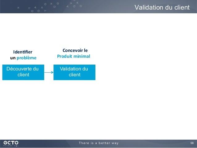 58  Validation du client Découverte du client Validation du client Iden%fier     un  problème   Concevoir  le  ...