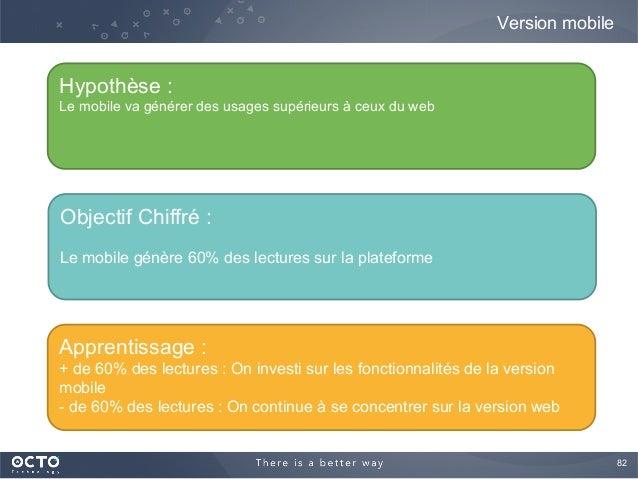 82  Version mobile Hypothèse : Le mobile va générer des usages supérieurs à ceux du web Objectif Chiffré : Le mobile génè...
