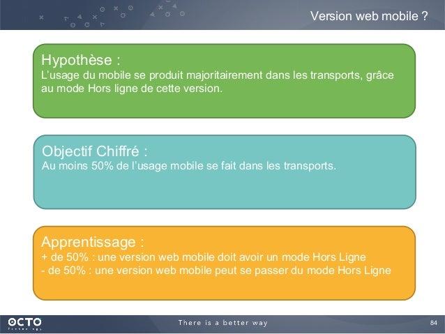 84  Version web mobile ? Hypothèse : L'usage du mobile se produit majoritairement dans les transports, grâce au mode Hors...