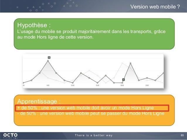85  Version web mobile ? Hypothèse : L'usage du mobile se produit majoritairement dans les transports, grâce au mode Hors...