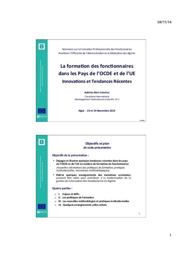 04/11/14  1  ©  OCDE  Initiative conjointe de l'OCDE et de l'Union européenne,  financée principalement par l'UE  Séminair...