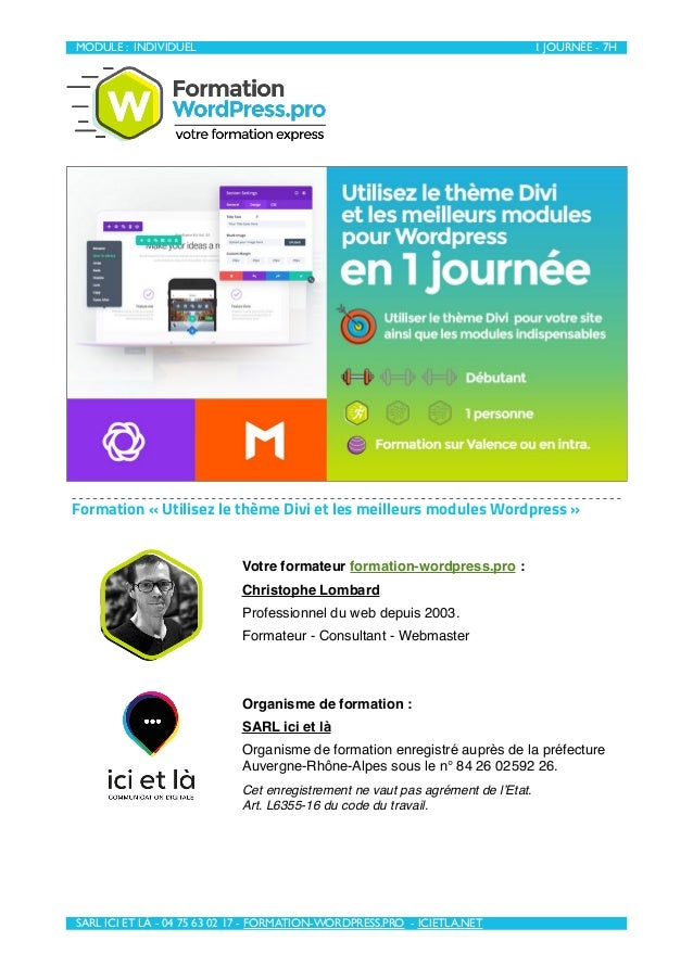 MODULE : INDIVIDUEL 1 JOURNÉE - 7H  SARL ICI ET LÀ - 04 75 63 02 17 - FORMATION-WORDPRESS.PRO - ICIETLA.NET Formation «U...