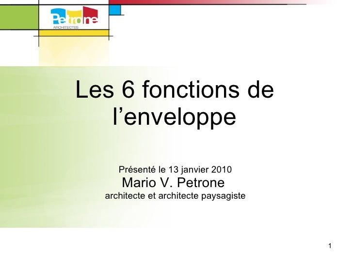 Formation 6 fonctions de l'enveloppe du bâtiment