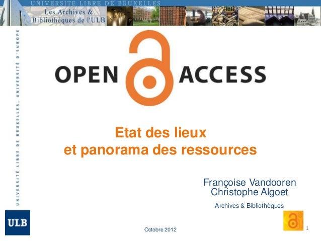 Etat des lieuxet panorama des ressources                         Françoise Vandooren                           Christophe ...