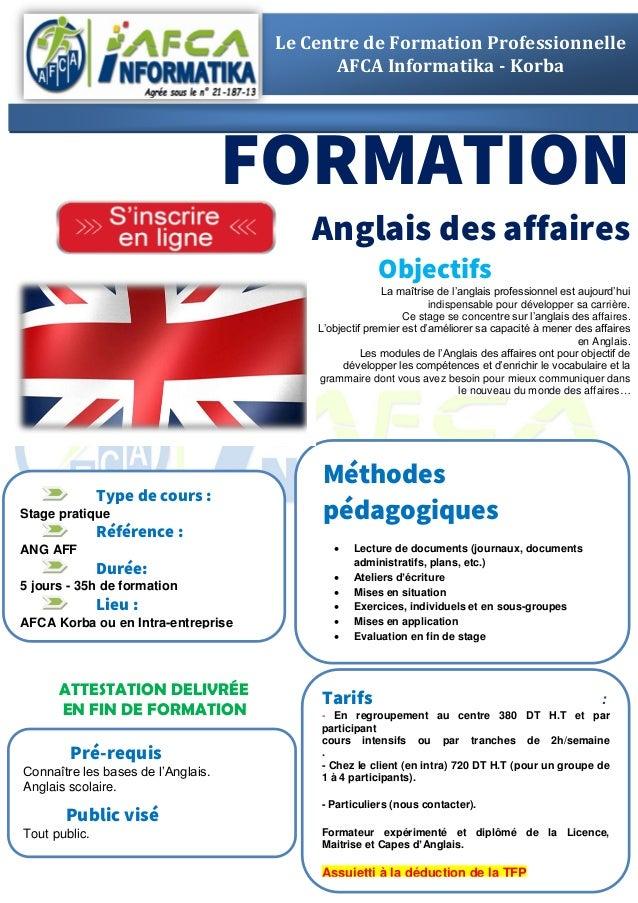 Formation Anglais Des Affaires