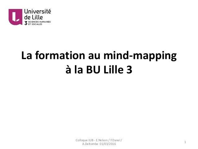 La formation au mind-mapping à la BU Lille 3 1 Colloque ILIB - E.Nelson / F.Danel / A.Deltombe 01/03/2016