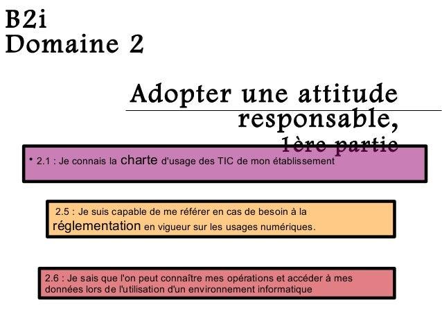 B2i Domaine 2 Adopter une attitude responsable, 1ère partie 2.1 : Je connais la charte d'usage des TIC de mon établisseme...
