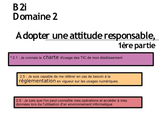 B2i Domaine2 Adopter uneattituderesponsable, 1èrepartie  2.1 : Je connais la charte d'usage des TIC de mon établissement ...
