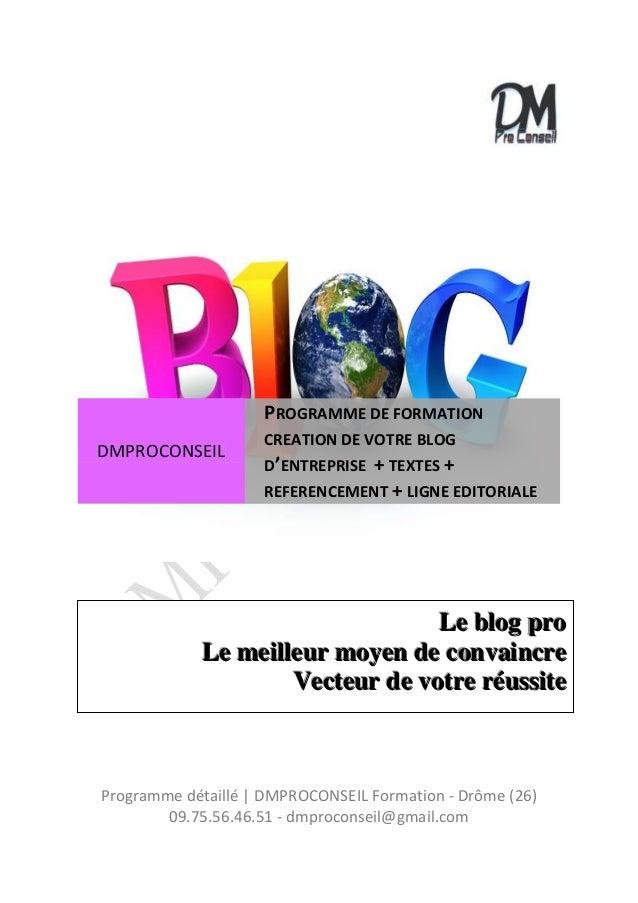 Programme détaillé | DMPROCONSEIL Formation - Drôme (26) 09.75.56.46.51 - dmproconseil@gmail.com DMPROCONSEIL PROGRAMME DE...