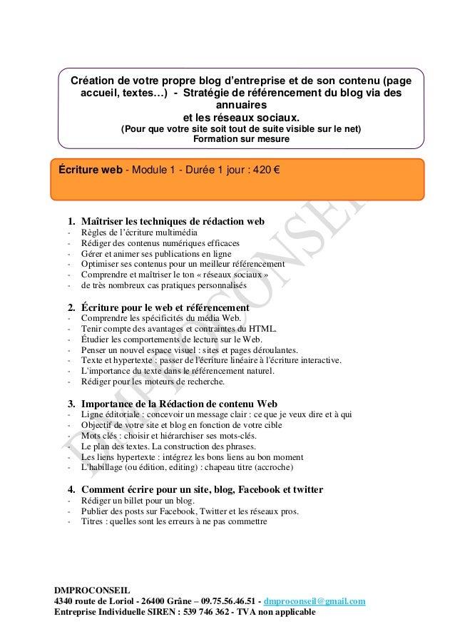 DMPROCONSEIL 4340 route de Loriol - 26400 Grâne – 09.75.56.46.51 - dmproconseil@gmail.com Entreprise Individuelle SIREN : ...