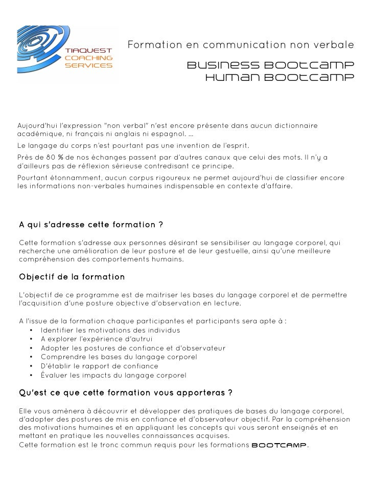 Formation en communication non verbale                                               Business BootCamp                    ...