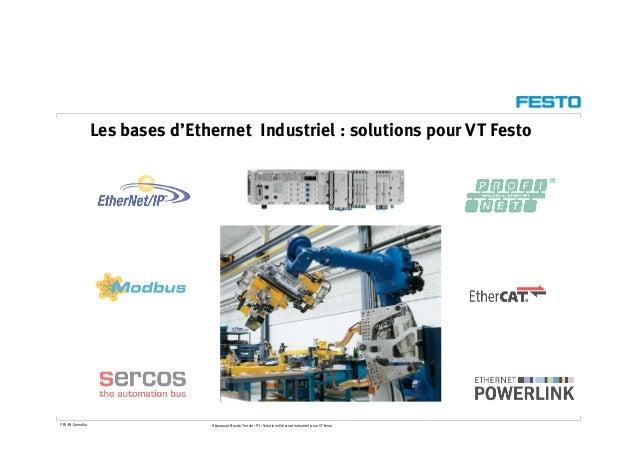 Les bases d'Ethernet Industriel : solutions pour VT Festo F-FR/W.Gomolka Réseaux et Bus de Terrain : P3 : Solutions Ethern...