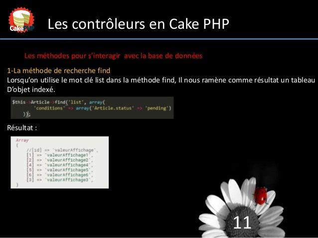 11 Les contrôleurs en Cake PHP Les méthodes pour s'interagir avec la base de données 1-La méthode de recherche find Lorsqu...