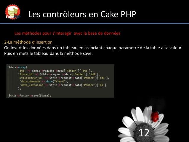 12 Les contrôleurs en Cake PHP Les méthodes pour s'interagir avec la base de données 2-La méthode d'insertion On insert le...