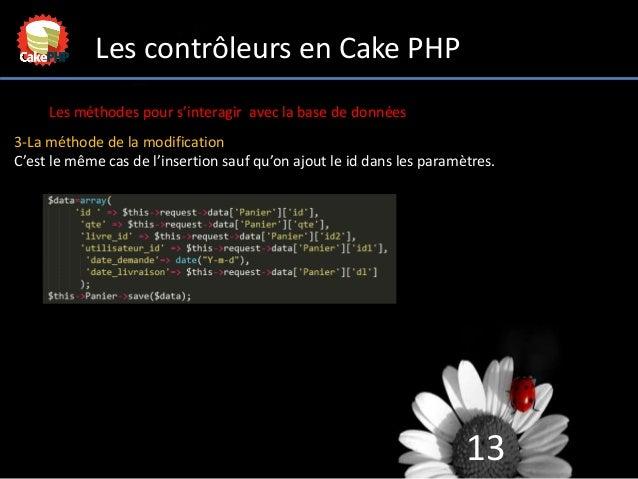 13 Les contrôleurs en Cake PHP Les méthodes pour s'interagir avec la base de données 3-La méthode de la modification C'est...