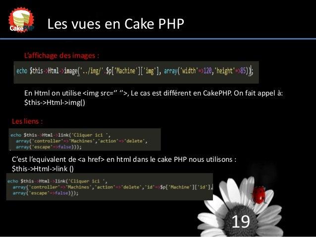 19 Les vues en Cake PHP L'affichage des images : En Html on utilise <img src='' ''>, Le cas est différent en CakePHP. On f...