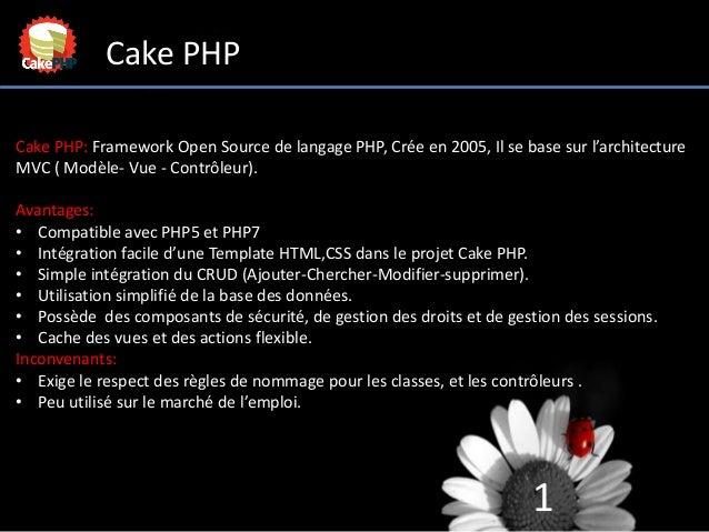 1 Cake PHP Cake PHP: Framework Open Source de langage PHP, Crée en 2005, Il se base sur l'architecture MVC ( Modèle- Vue -...